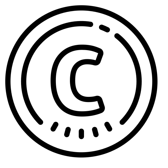 Prawa autorskie icon. A large circle surrounding the letter C. The letter C is not filled in. If drawn with a thick tipped marker and the inner part of the C is blank/erased leaving only the outline of the C.