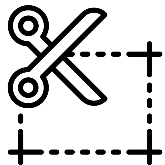 Kupon do wycięcia icon. There is a horizontal rectangle made out of dotted lines. In the upper left corner of the rectangle is a large pair of scissors cutting the top line.