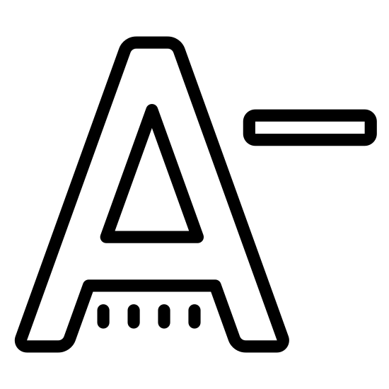 "Decrease Font icon. It's a traditional capital ""A"" symbol, with its narrow top and diagonal sides, followed by the ""minus"" sign to the right, representing an A minus."