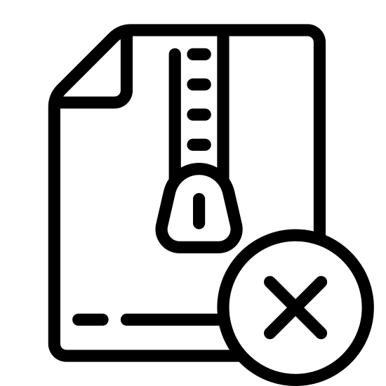 """Delete Archive icon. It's a logo of a rectangle in portrait orientation with a closed zipper going from the top to below the center. In the lower right corner in front of the rectangle is a smaller circle with an """"X"""" inside of it."""