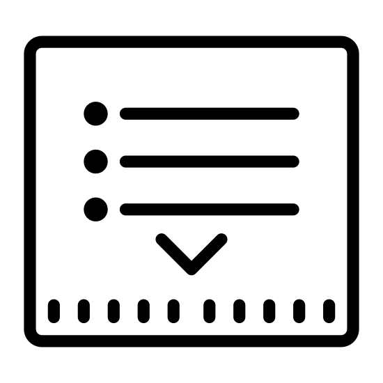 Przeciągnij w dół listy icon. There are 3 lines that run horizontal stacked on top of each other equally spaced. Below the bottom line, also equally spaced and centered is a small triangle with its point facing down.