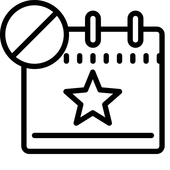 Evénement refusé icon. The icon's shaped like a square with a star at the center and a horizontal line that runs towards the top. At the top of the square are two vertical rectangles that overlap, one towards the left and one towards the right. At the bottom right of the square is a overlapping circle with a slanted line running through it.