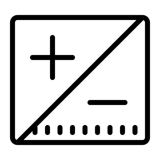 Exposure icon. The logo is a square separated into two diagonally. On the left side of the square there's a plus sign. And on the right side of the square there's a minus sign. The square is composed completely of black lines.