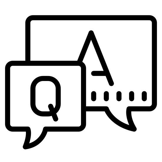"""Perguntas frequentes icon. The icon FAQ is two squares on top of each other with the top one off to the right. The top square has a capital """"A"""" in the middle and a small point on the bottom right corner that extends past the edge. The bottom square has a capital """"Q"""" with a point that extends past the edge on the bottom left corner."""