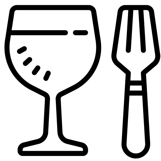 Jedzenie icon. This icon contains a glass and a fork. The glass is on the left, with a flat line on top. The line comes down to a straight line on both sides, then curves downwards and connects to a stem. The stem is two straight vertical lines that curve back outwards. To the right of the glass is a fork, with two short vertical lines on top. The third vertical line connects and curves down to a straight line for its handle.