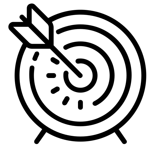Cel icon. This image is composed of a circle in the center.  Around that circle are three concentric rings of increasing diameter.  Going from the center circle is a diagonal arrow shape without the arrowhead going towards the upper right.