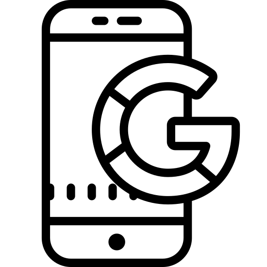 Google Mobile icon. The Google mobile symbol is a phone that is a rectangular shape. In the side rectangle there will be another rectangle about half the size to show the screen of the phone. On the bottom of the rectangle there will be oval shaped with lines to show the buttons of the phone.