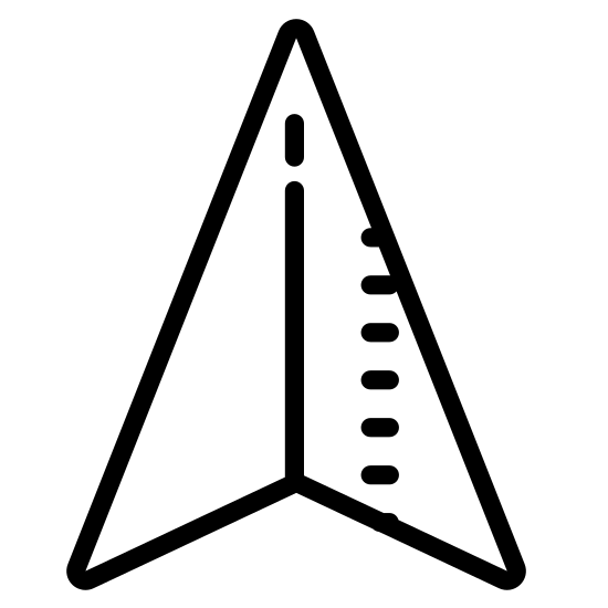 Urządzenie GPS icon. The symbol is for a GPS device and is an arrow shape. This kind of arrow represents a marker for location or direction when seen on the map of a GPS device.