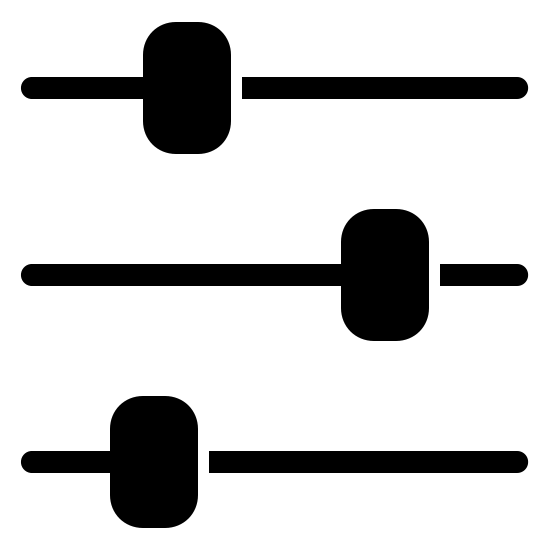 Tune Filled icon. This logo is three horizontal lines spaced evenly from each other. On each of the lines is a small rounded rectangle, taller than it is wide. The top and bottom rectangles are a third of the way from the left, and the middle rectangle is spaced a third of the way from the right.