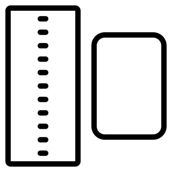 Niespójność icon. There is a vertical thin rectangle with squared edges left of a slightly smaller wider rectangle with curved edges.