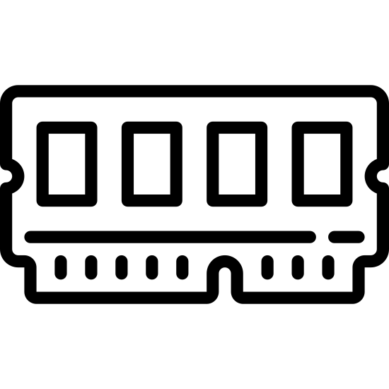 Gniazdo pamięci icon. This icon represents a memory slot. It is a long rectangle with four smaller rectangles inside it. On the right hand side is a slimmer, smaller rectangle that has a notch cut out in the middle and has eight lines.
