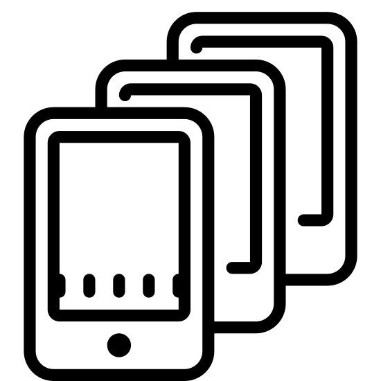 Wiele smartfonów icon. It is a drawing of three smart phones with the second placed slightly over the first, and the third placed slightly over the second, creating a cascading appearance. Each smartphone shows a rectangular screen with a single dot below it.