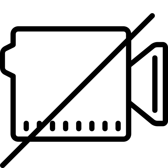 No Video icon. This icon for no video is a video camera with a diagonal line slashed from left to right through the center of it. The camera is shown as a square. On the right side of the square is a trapezoid shape, with the smaller end attached to the square.