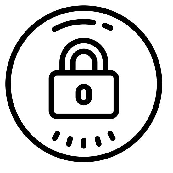 Secure icon. This icon includes a larger circle that has a rectangular shape with rounded edges in the middle. In the middle of the rectangle is a black shape that looks like a key hole. It has a curved line that is attached to the top of the rectangle.