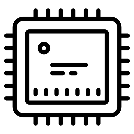 Procesor icon. It is a large square with rounded corners. There are two dots on the square, one each in the top-left and bottom-right corners, almost like a 2 on a standard die. On the outside of each of the 4 edges of the square are 4 lines perpendicular to the edge, separated from the edge by a very small space.