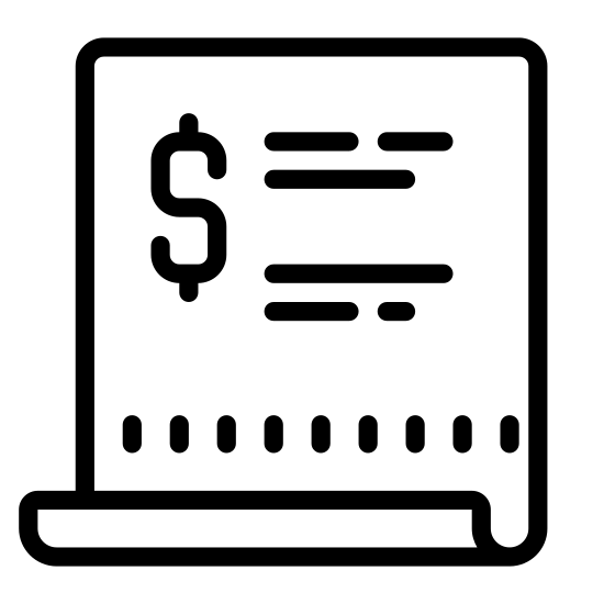 """Purchase Order icon. This logo for """"purchase order"""" is a rectangular piece of paper.  There is a solid line across the top of the """"paper,"""" to represent the title.  Then there are three rows of solid lines each beginning with a short dash, representing a bulleted, or numbered list."""