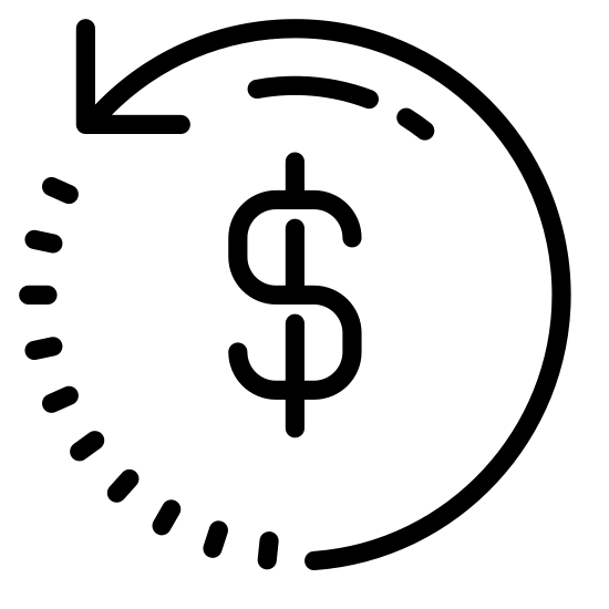 Transaction icon. This is a picture of a dollar sign symbol surrounded by a circular arrow. the arrow is going in a counter-clockwise direction, and it's end is facing the left hand center side. the other end of the arrow is dashed