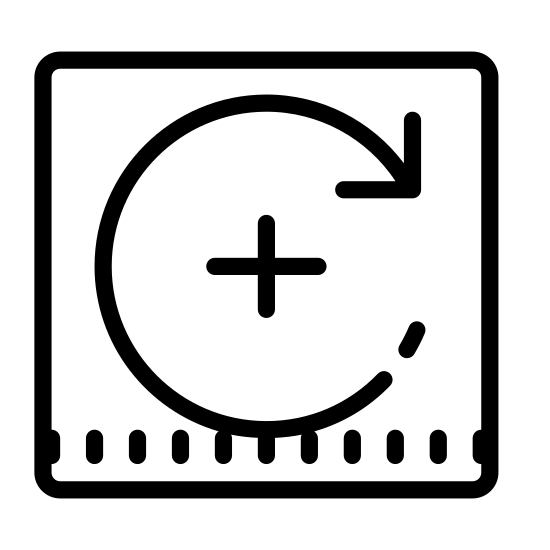 Obróć w prawo icon. The icon resembles a circle. The top curved part of the circle has a point that is aiming towards the right. Starting from the middle left all the way around to the arrow point the line is dotted with dashes.