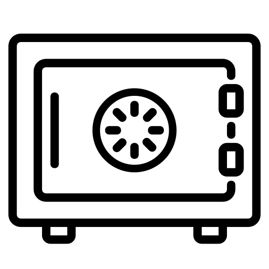 Safe icon. There is a safe shape with a square and a circle in the center of it. The outer square has another smaller square towards the outside. The circle also has a smaller circle within it. There are dashes on the outside of the larger circle. The outer square has two small rectangles on each side.