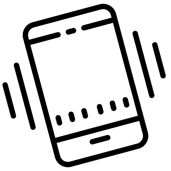 Handy schütteln icon. This icon is depicting shaking your phone. There is a smartphone with two differently sized parallel lines on each side of it showing the shaking of the phone.