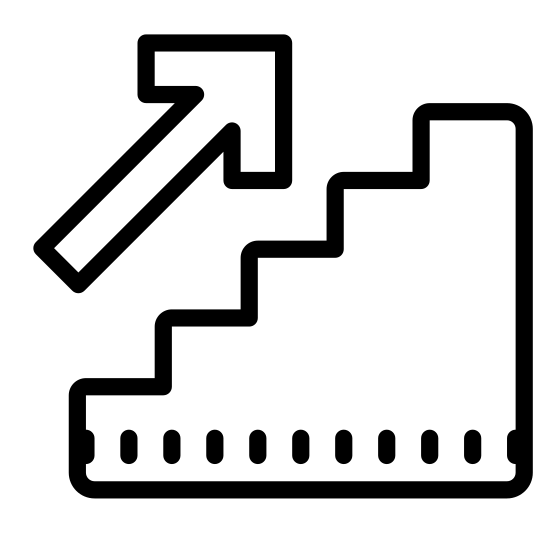 Stairs Up icon. It is an image of stairs with an arrow pointing diagonally up and to the right, at a 45 degree angle. There are four steps on the stairs, with steps at 90 degree angles.