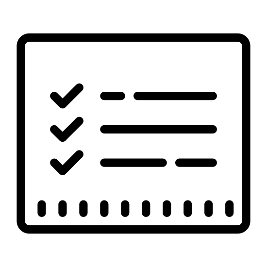 Lista rzeczy do zrobienia icon. There are three equal length horizontal lines which are placed on top of each other with equal spacing between them and there are three tick marks which are of equal size towards the left side of each line. Also there is small spacing between each tick mark and the horizontal line.