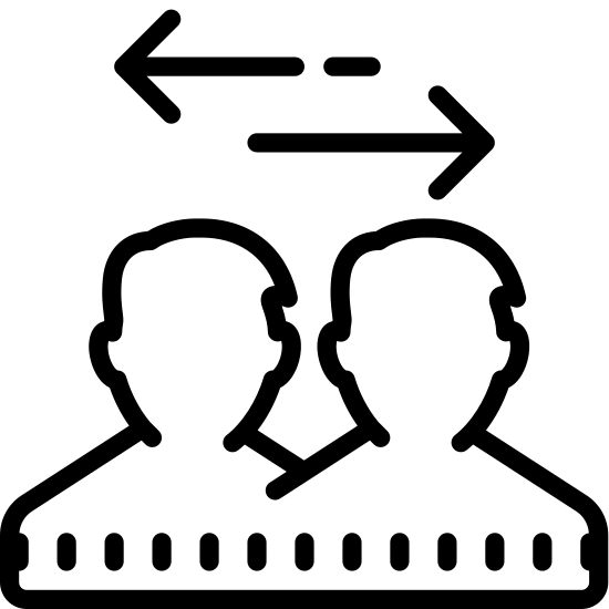 Exchange icon. This icon represents transfer between users. It is two people's head side by side touching at the shoulder. There are two dots under the shoulders with two lines making arrows pointing opposite, one left and one right.