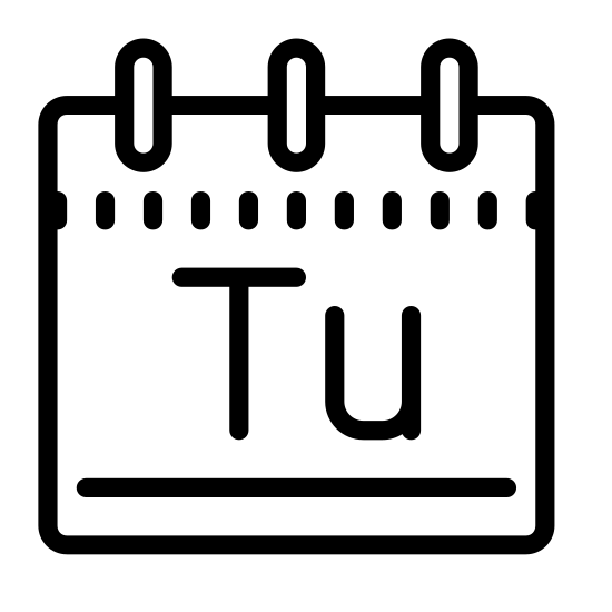 "Wtorek icon. A large rectangle, oriented with the short ends vertical. It has a rectangle the same length but 1/4 height sitting on top.1/4 in from each side is a small vertical rectangle. the Letters ""Tu"" are inside the large rectangle."