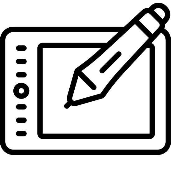 Планшет Wacom icon. This is a rectangle with another smaller rectangle inside of it. On the inner left of the inner rectangle is a circle with a dot in the middle, with small rectangle on the top and bottom of that.