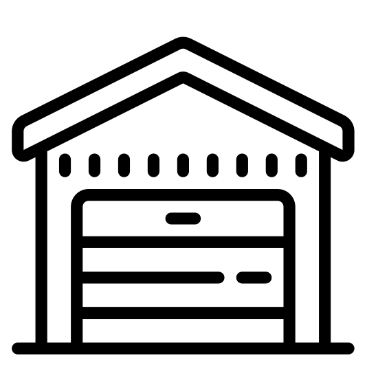 Magazyn icon. This icon is depicting a house-like structure that is segmented into four square quadrants. In each of the quadrants is a horizontal line at the top of the square. Resting on top of the unit is a triangular shaped roof.