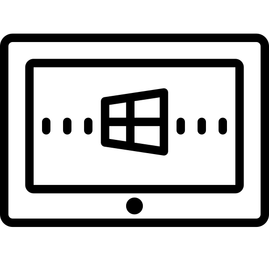Windows8 Tablet icon. It's a logo in the shape of a window that signifies the trademark logo of Microsoft. The logo is slightly tilted to create a 3Dimensional view and it is the first logo that one will see upon signing into a windows computer